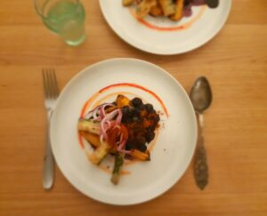 Ras el Hanout with blue berries and sweet potato